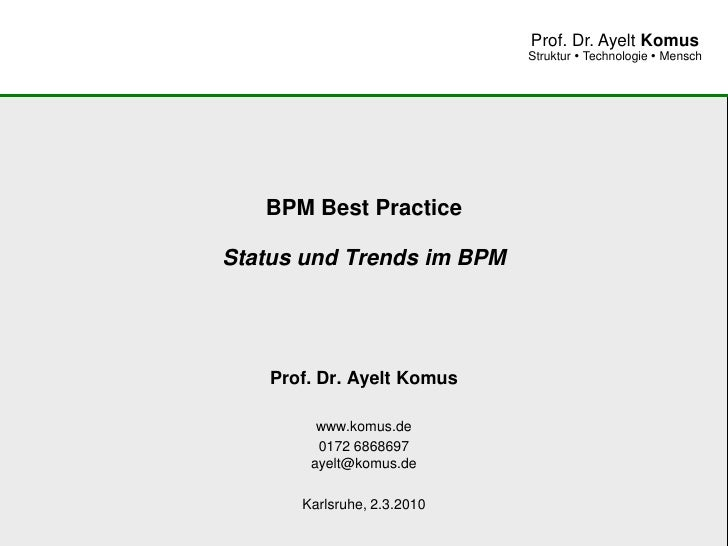 BPM Best Practice - BPM Status Quo und Trends