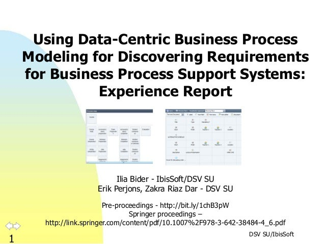 DSV SU/IbisSoft 1 Using Data-Centric Business Process Modeling for Discovering Requirements for Business Process Support S...