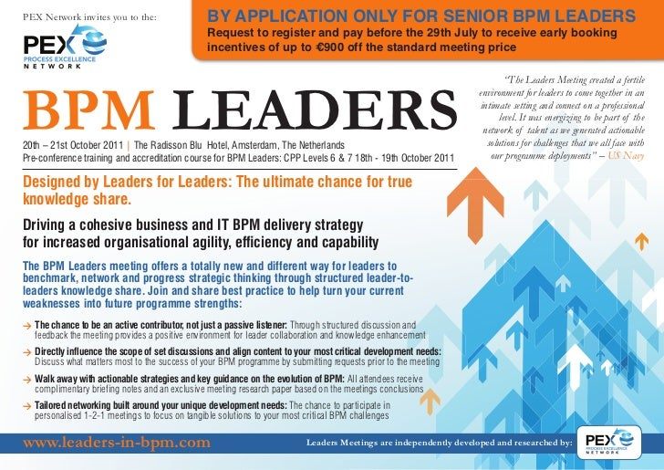 PEX Network invites you to the:                  BY APPLICATION ONLY FOR SENIOR BPM LEADERS                               ...
