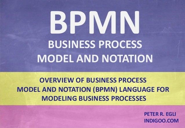 © Peter R. Egli 2015 1/24 Rev. 1.60 BPMN – Business Process Model and Notation indigoo.com OVERVIEW OF BUSINESS PROCESS MO...