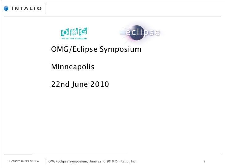 OMG/Eclipse Symposium                            Minneapolis                            22nd June 2010     LICENSED UNDER ...