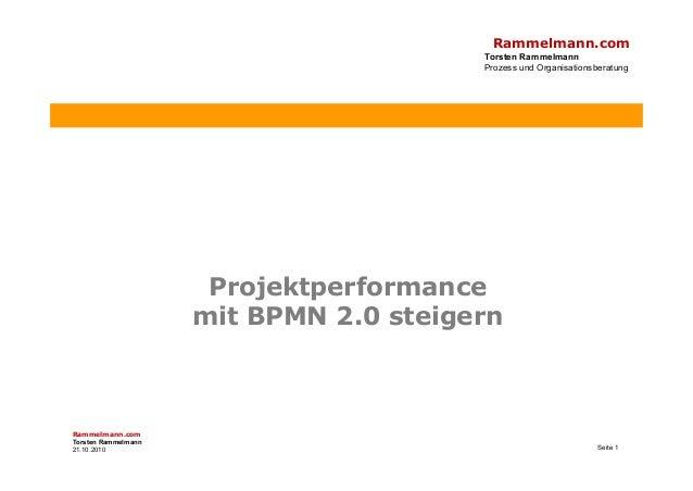 Rammelmann.com Torsten Rammelmann Prozess und Organisationsberatung Projektperformancej mit BPMN 2.0 steigern Rammelmann.c...