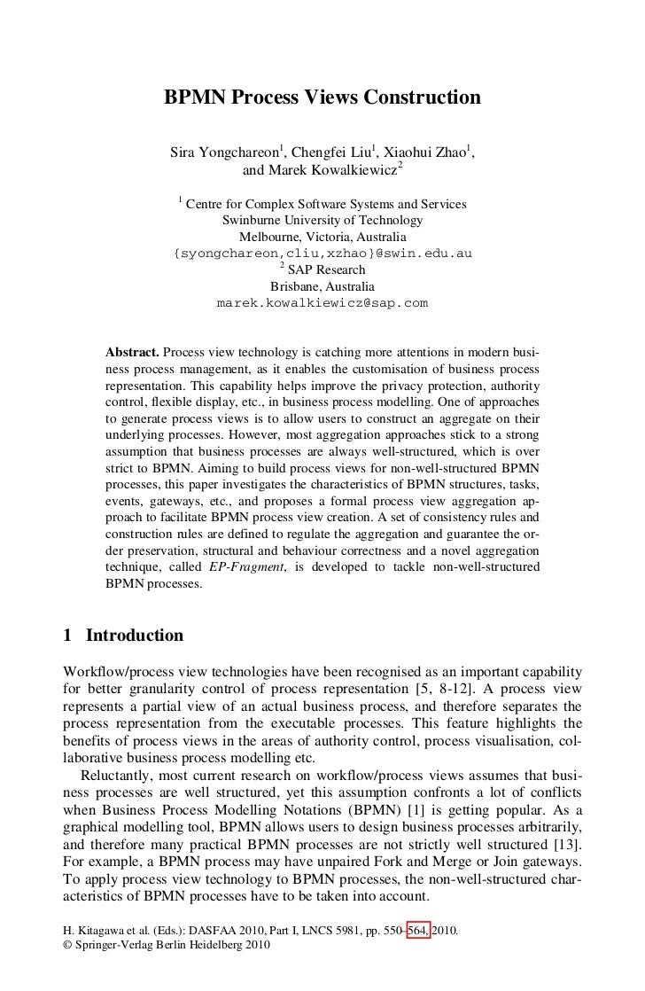 BPMN Process Views Construction                    Sira Yongchareon1, Chengfei Liu1, Xiaohui Zhao1,                       ...