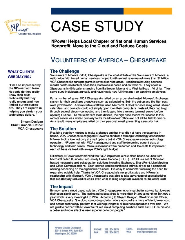 CASE STUDYCASE STUDY NPower Helps Local Chapter of National Human Services Nonprofit Move to the Cloud and Reduce Costs NP...