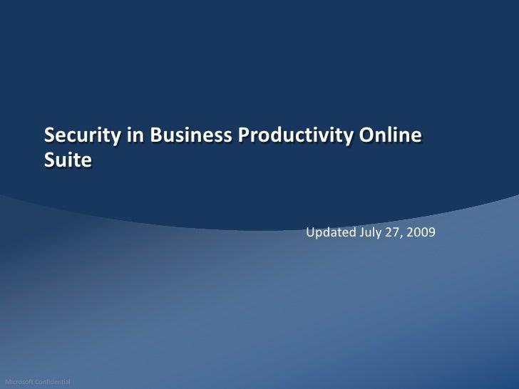 Microsoft Online Services Risk Management