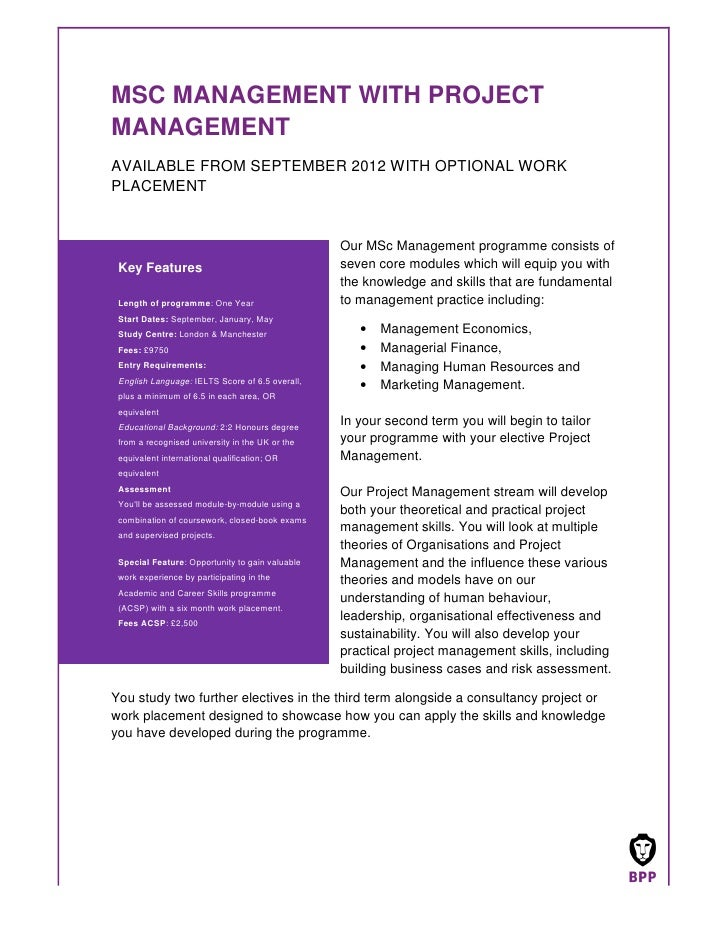 MSC MANAGEMENT WITH PROJECTMANAGEMENTAVAILABLE FROM SEPTEMBER 2012 WITH OPTIONAL WORKPLACEMENT                            ...