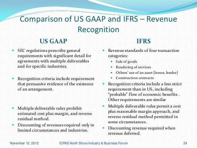 Comparison of us gaap and ifrs revenue recognition us gaap
