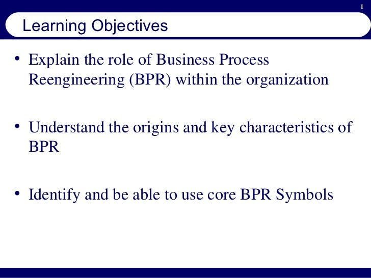 objectives of business process reengineering Inteq's business process re-engineering training provides a cohesive best  practice  and cross-departmental initiatives that have specific tactical objectives.