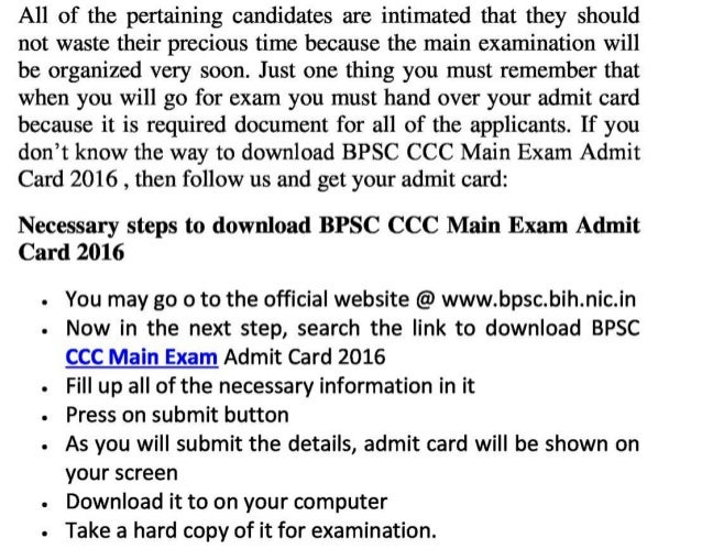Bpsc ccc main jobs 2016 admit card  soon update exam result