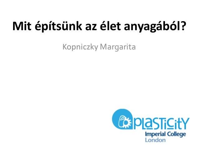 Kopniczky Margarita Mit építsünk az élet anyagából?
