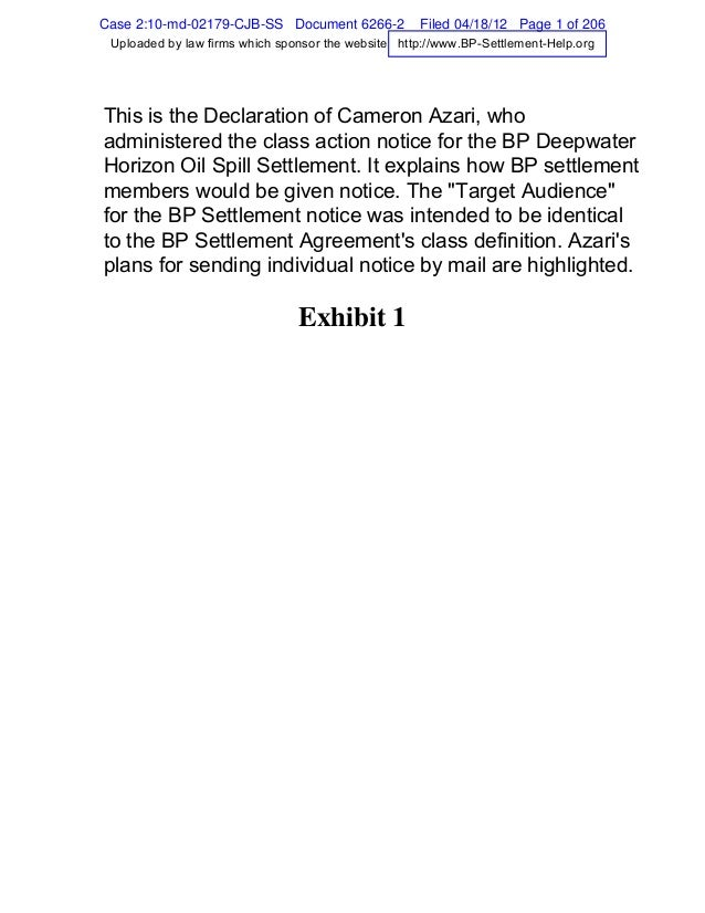 Bp settlement declaration_cameron_azari_bp_settlement_notice_administrator_4_17_2012_annotated