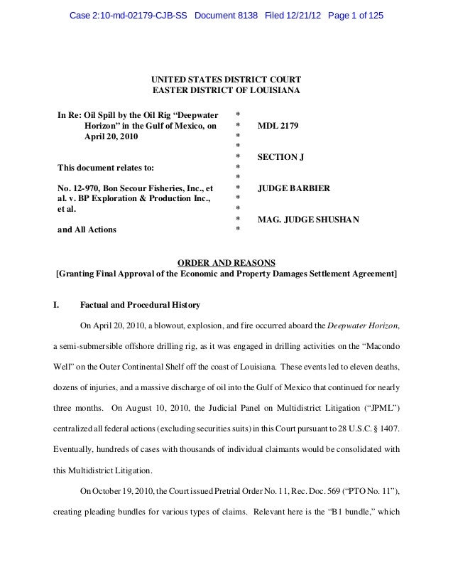 Case 2:10-md-02179-CJB-SS Document 8138 Filed 12/21/12 Page 1 of 125                             UNITED STATES DISTRICT CO...