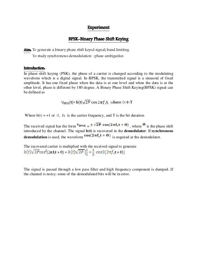 EEP306: Binary phase shift keying