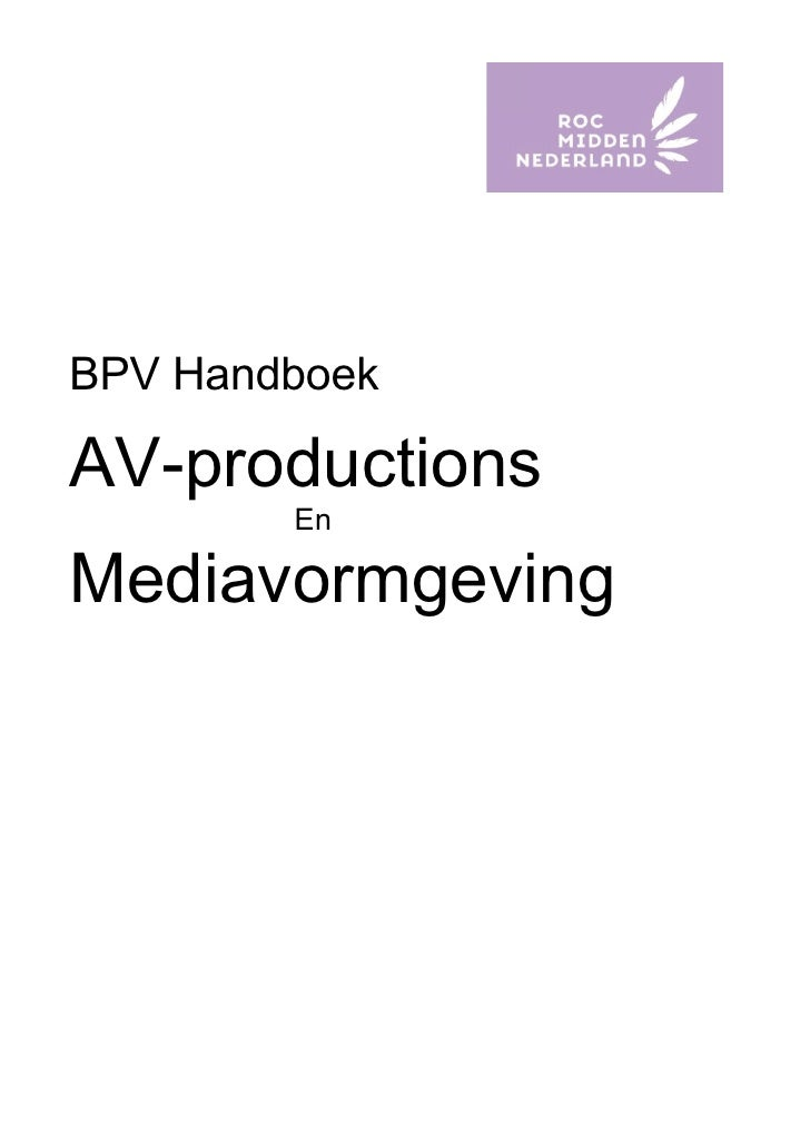 BPV Handboek  AV-productions         En  Mediavormgeving