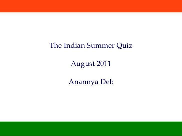 India Quiz - August 2011