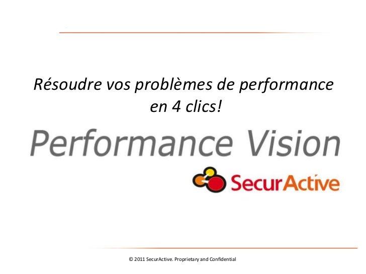 Résoudre vos problèmes de performance               en 4 clics!           © 2011 SecurActive. Proprietary and Confidential