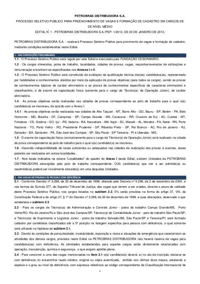 PETROBRAS DISTRIBUIDORA S.A. PROCESSO SELETIVO PÚBLICO PARA PREENCHIMENTO DE VAGAS E FORMAÇÃO DE CADASTRO EM CARGOS DE    ...
