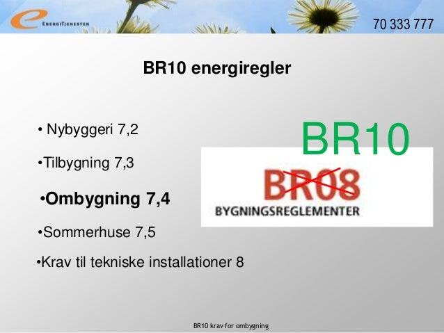 BR10 krav for ombygning 70 333 777 • Nybyggeri 7,2 BR10 energiregler •Tilbygning 7,3 •Ombygning 7,4 •Krav til tekniske ins...