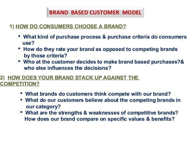 BRAND BASED CUSTOMER MODEL 1) HOW DO CONSUMERS CHOOSE A BRAND?  What kind of purchase process & purchase criteria do cons...