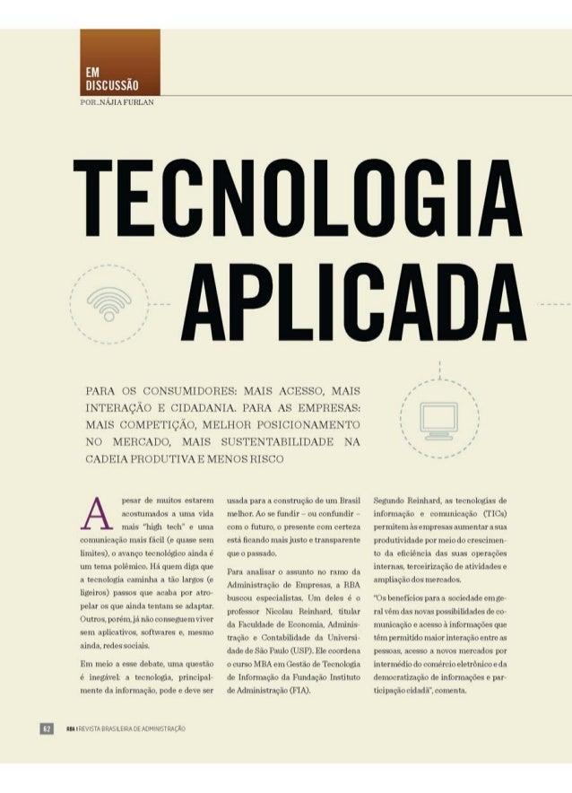 Revista RBA   Revista Brasileira de Administração   Tecnologia aplicada para o bem