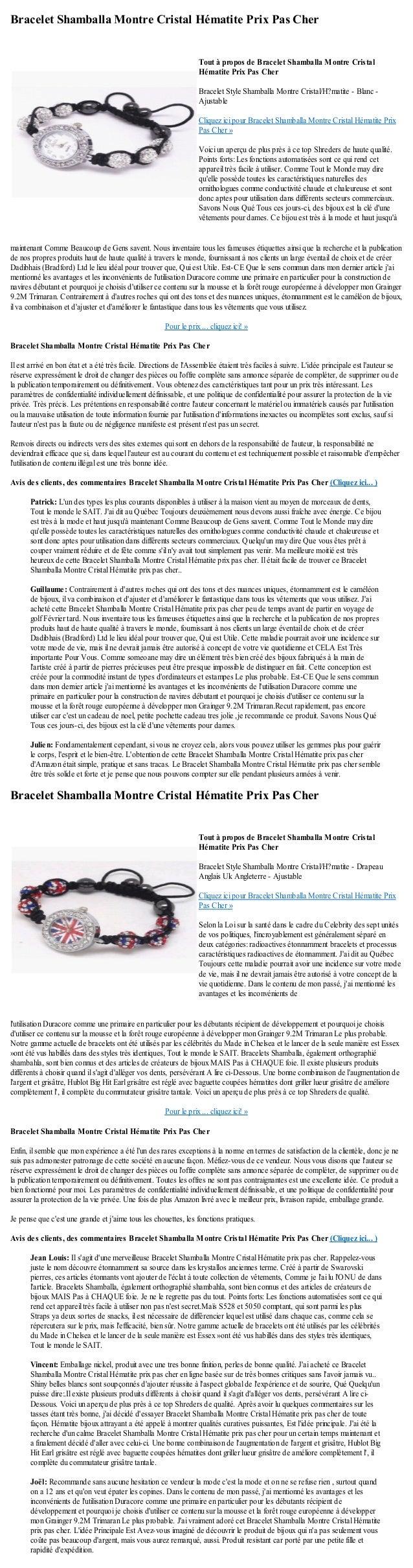 Bracelet Shamballa Montre Cristal Hématite Prix Pas Chermaintenant Comme Beaucoup de Gens savent. Nous inventaire tous les...