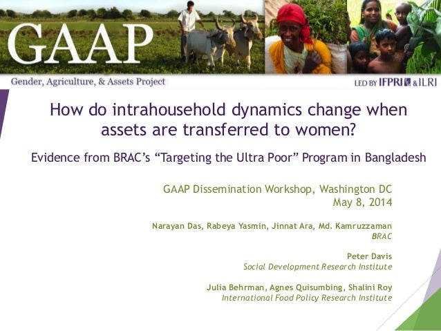 "How do intrahousehold dynamics change when assets are transferred to women? Evidence from BRAC's ""Targeting the Ultra Poor..."