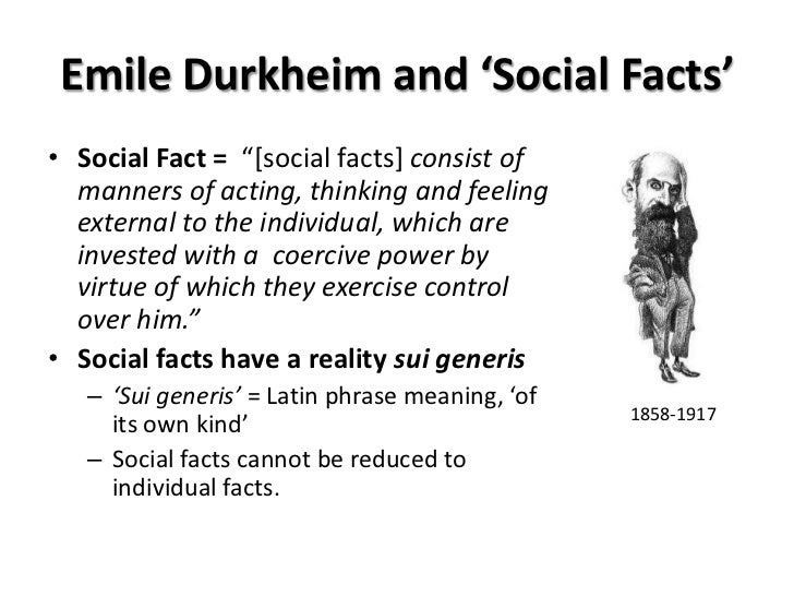 durkheim social facts Sociology as a discipline and social facts emile durkheim (1858-1917) is  considered one of the fathers of sociology because of his effort to establish.