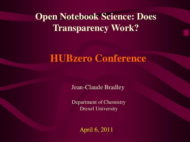 Open Notebook Science HUBzero 2011
