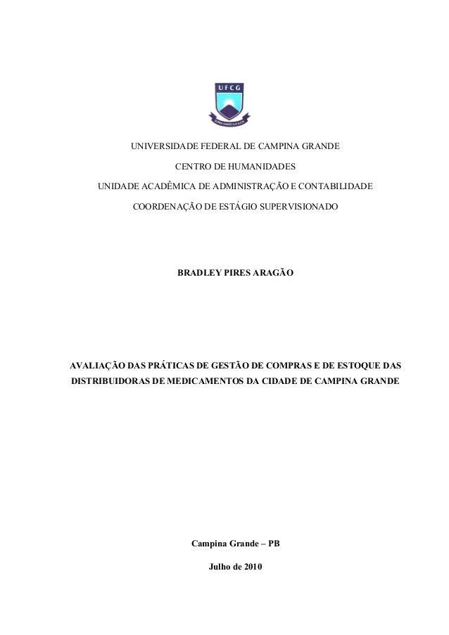 UNIVERSIDADE FEDERAL DE CAMPINA GRANDE CENTRO DE HUMANIDADES UNIDADE ACADÊMICA DE ADMINISTRAÇÃO E CONTABILIDADE COORDENAÇÃ...