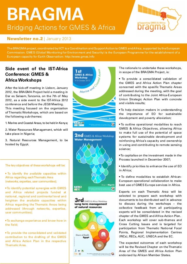 BRAGMA Bridging Actions for GMES & Africa Newsletter no.2 | January 2013 The BRAGMA project, coordinated by IICT is a Coor...
