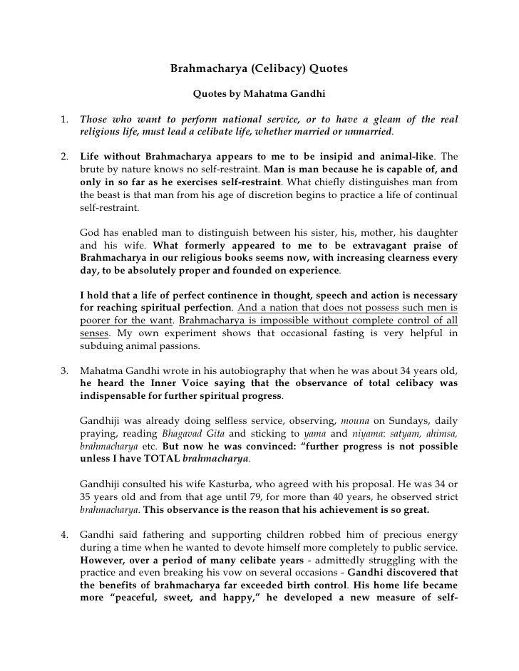 Brahmacharya (Celibacy) Quotes (MK Gandhi)