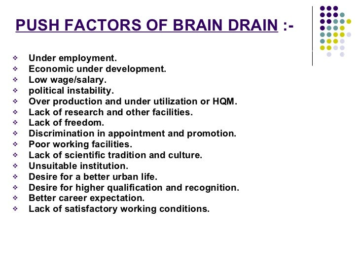 brain drain essay 'brain drain' is the migration of talented persons like doctors, engineers, lawyers, teachers and technicians from their home country to a foreign country for higher remuneration and better working conditions.