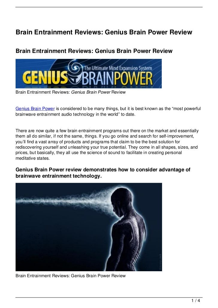 Brain Entrainment Reviews: Genius Brain Power Review