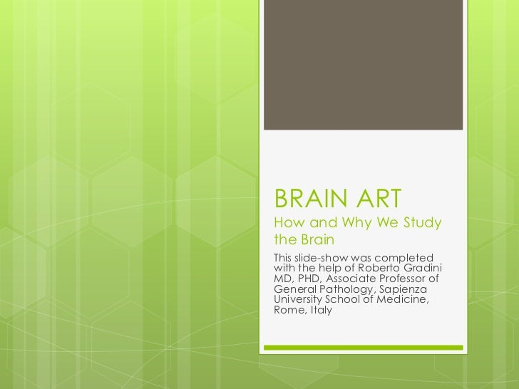 BRAIN ARTHow and Why We Studythe BrainThis slide-show was completedwith the help of Roberto GradiniMD, PHD, Associate Prof...
