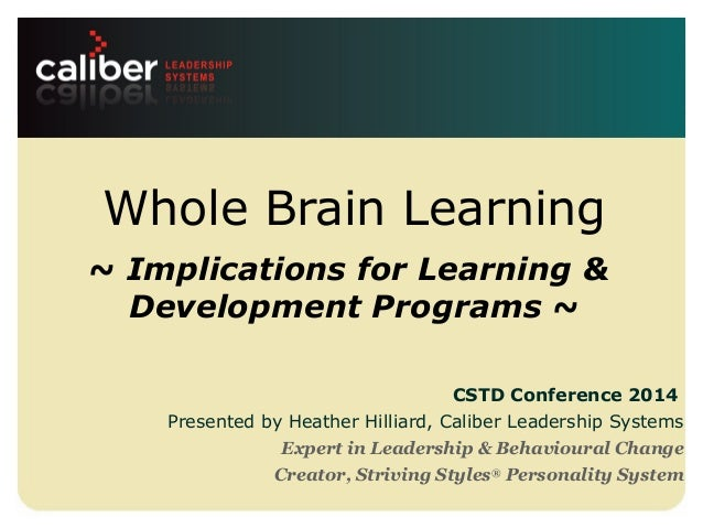 Leadership systems that create powerful companies Whole Brain Learning ~ Implications for Learning & Development Programs ...