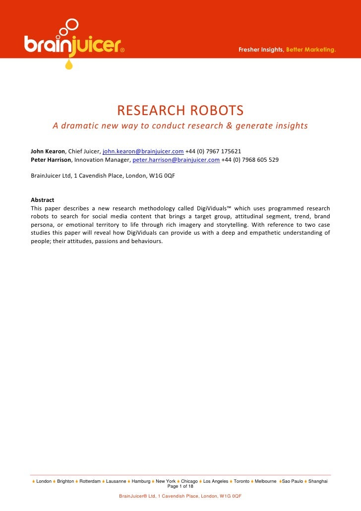 Fresher Insights, Better Marketing.                                     RESEARCH ROBOTS          A dramatic new way to con...
