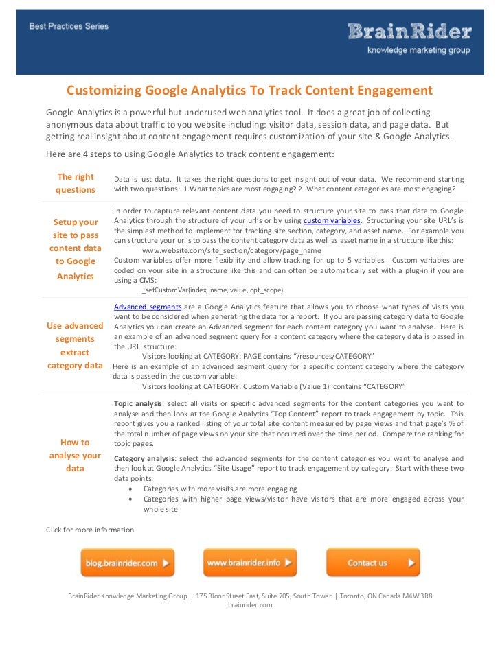 CustomizingGoogleAnalyticsToTrackContentEngagementGoogleAnalyticsisapowerfulbutunderusedwebanalyti...
