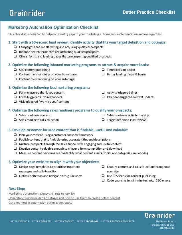 Better Practice ChecklistMarketing Automation Optimization ChecklistThis checklist is designed to help you identify gaps i...