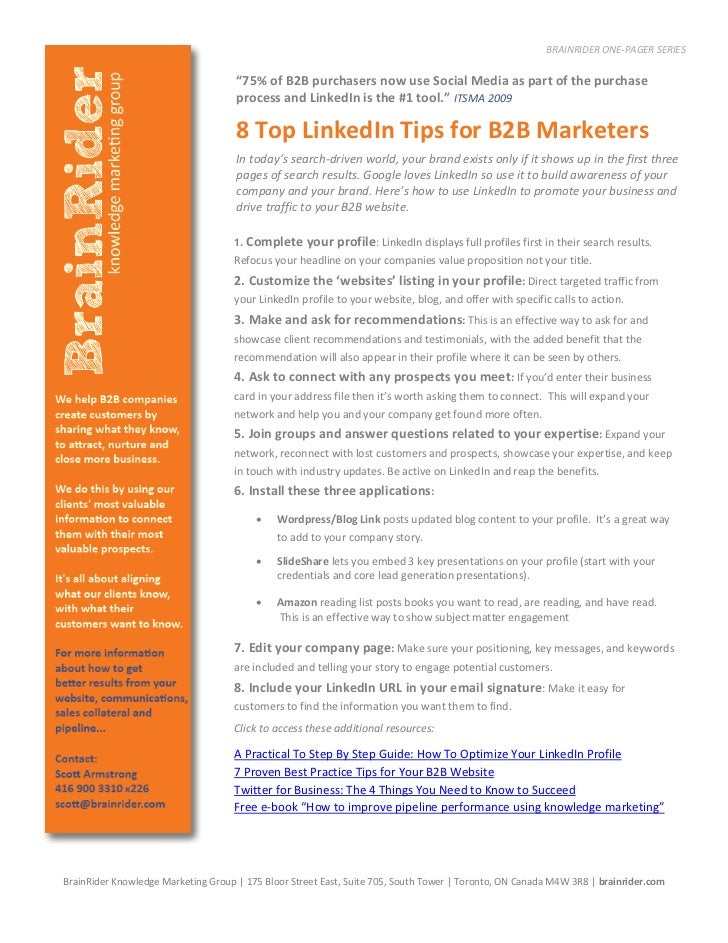 """BRAINRIDER ONE-PAGER SERIES                                     """"75% of B2B purchasers now use Social Media as part of the..."""
