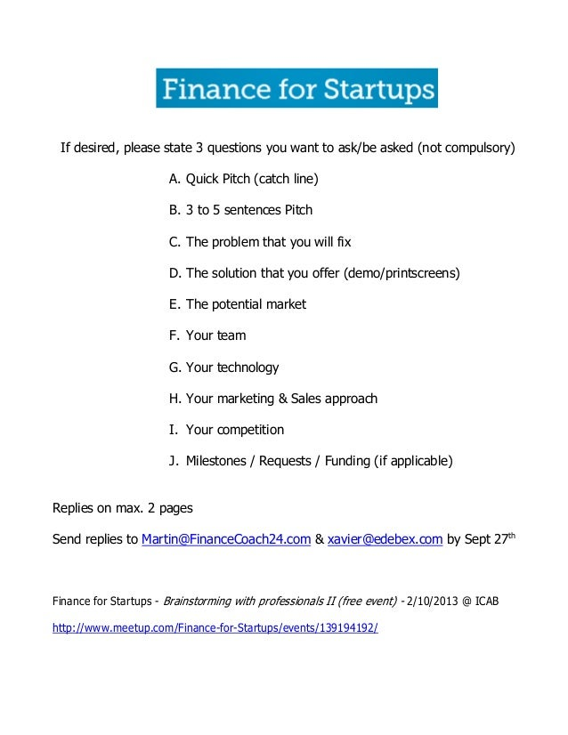 Brainstorming with professionals II (Finance for Startups)