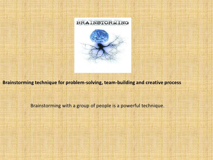 Brainstorming technique for problem-solving, team-building and creative process<br />Brainstorming with a group of people ...