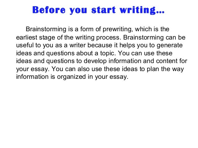 Brainstorming for essays