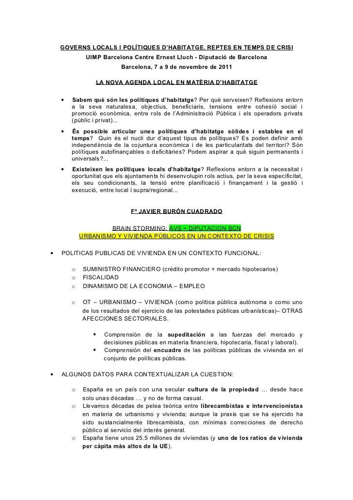 CUIMPB DIBA. CRISIS: RETOS Y OPORTUNIDADES DEL URBANISMO Y LAS POLÍTICAS PÚBLICAS DE VIVIENDA