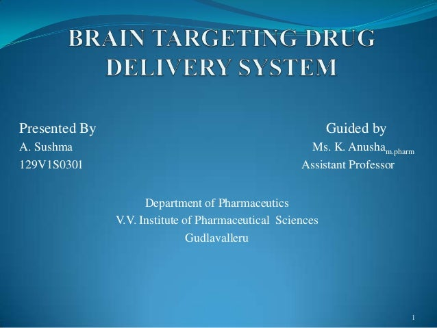 Presented By Guided by A. Sushma Ms. K. Anusham.pharm 129V1S0301 Assistant Professor Department of Pharmaceutics V.V. Inst...
