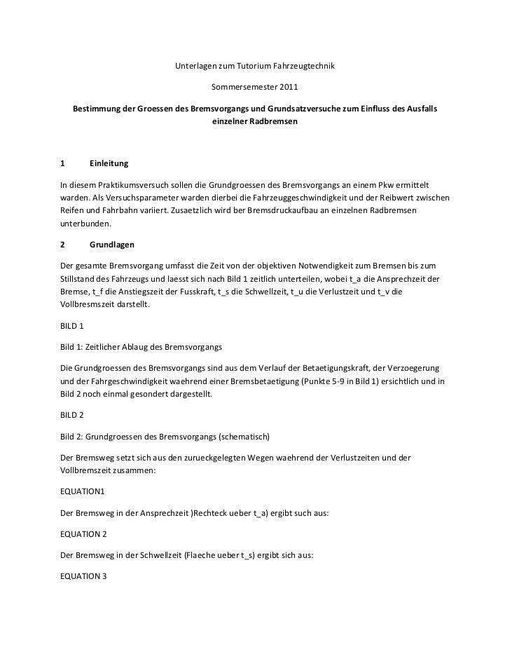 Unterlagen zum Tutorium Fahrzeugtechnik                                         Sommersemester 2011    Bestimmung der Groe...