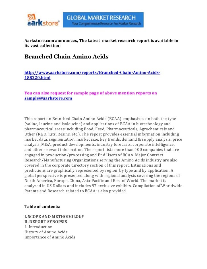 Aarkstore.com announces, The Latest market research report is available inits vast collection:Branched Chain Amino Acidsht...