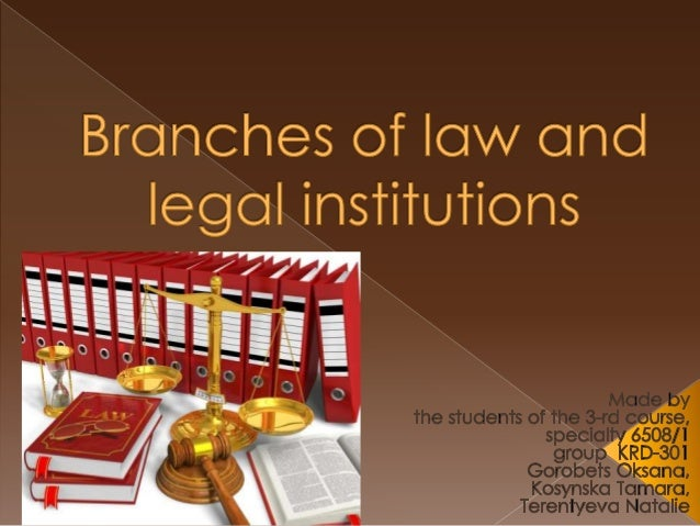 Branches of law and legal institutions