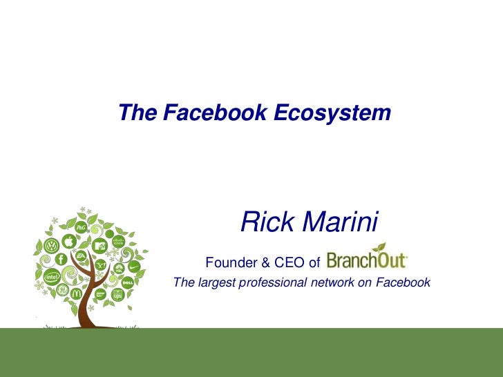 The Facebook Ecosystem               Rick Marini         Founder & CEO of    The largest professional network on Facebook