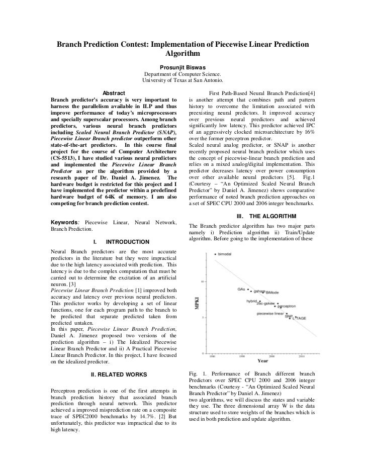 Branch Prediction Contest: Implementation of Piecewise Linear Prediction                                Algorithm         ...