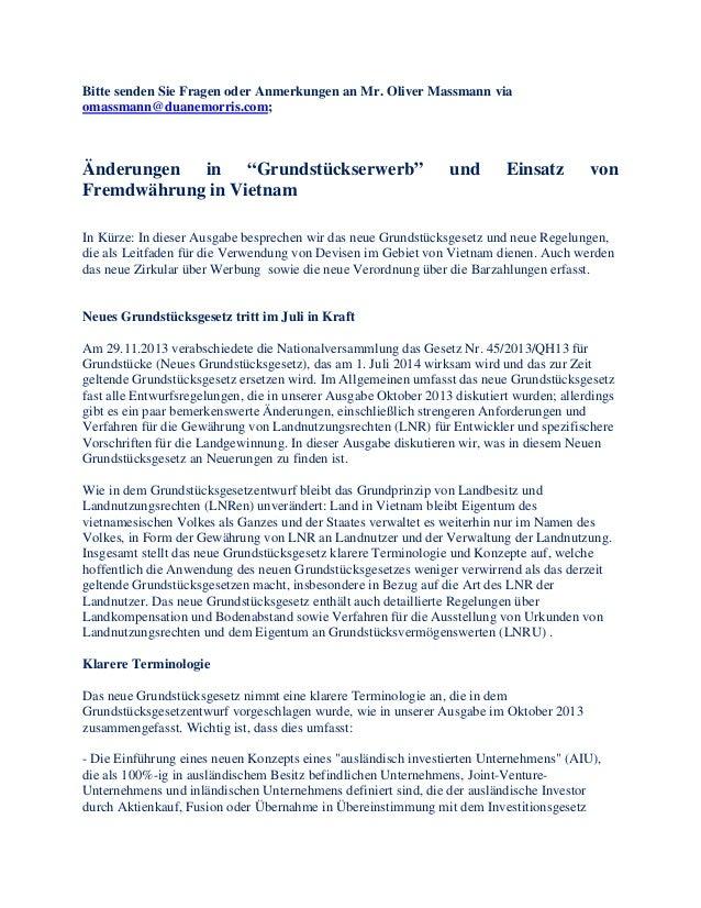 """Bitte senden Sie Fragen oder Anmerkungen an Mr. Oliver Massmann via omassmann@duanemorris.com; Änderungen in """"Grundstückse..."""